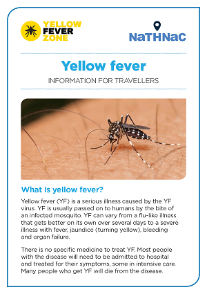 Yellow Fever Information For Travellers Leaflet Yellow Fever Zone